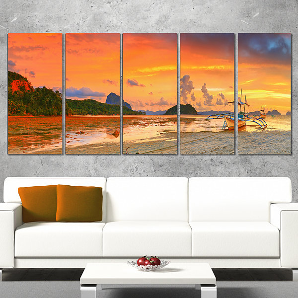 Designart Boat at Sunset Panorama Landscape Photography Canvas Print - 4 Panels