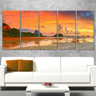 Designart Boat at Sunset Panorama Landscape Photography Wrapped Canvas Print - 5 Panels