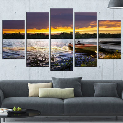 Designart Boat Docked in Lake at Sunset Modern Seashore Wrapped Canvas Art - 5 Panels