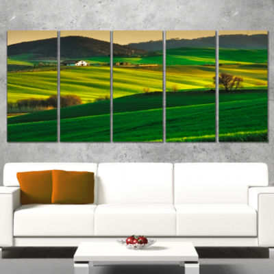 Designart Trees and Farmland Near Volterra Extra Large Landscape Canvas Art - 4 Panels