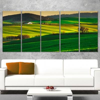 Designart Trees and Farmland Near Volterra Extra Large Landscape Canvas Art - 5 Panels
