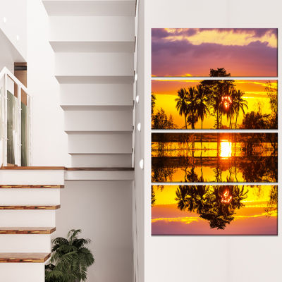 Designart Trees Mirrored in Flooded Waters Landscape Wall Art on Canvas - 4 Panels
