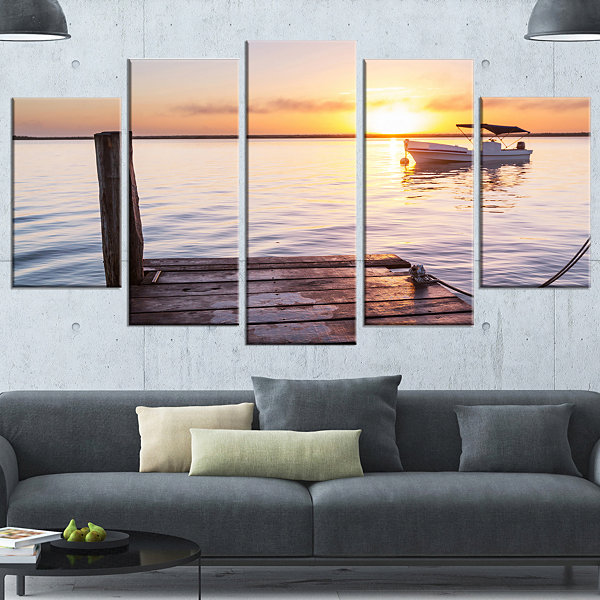 Designart Boat View From Boardwalk On Beach Seashore Wrapped Canvas Art Print - 5 Panels