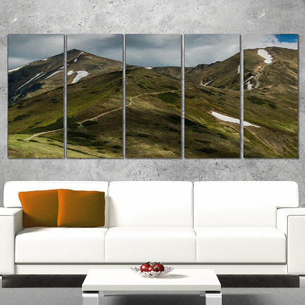 Designart Trekking Patch in Tatra Mountains Landscape CanvasArt Print - 5 Panels
