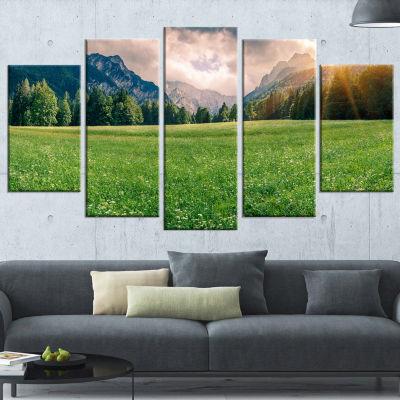 Designart Triglav Mountain Panorama Landscape Photography Canvas Print - 4 Panels