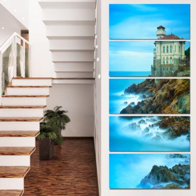 Designart Boccale Castle On Cliff Rock and Sea Beach Photo Canvas Print - 5 Panels
