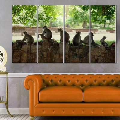 Designart Troop of Monkeys in Sri Lanka African Landscape Canvas Art Print - 4 Panels