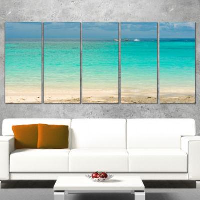 Designart Tropical andaman Sea with Blue Sky Modern SeascapeCanvas Artwork - 4 Panels