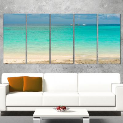 Designart Tropical andaman Sea with Blue Sky Modern SeascapeWrapped Artwork - 5 Panels