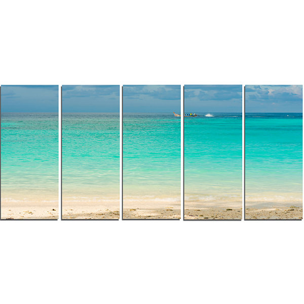 Designart Tropical andaman Sea with Blue Sky Modern SeascapeCanvas Artwork - 5 Panels