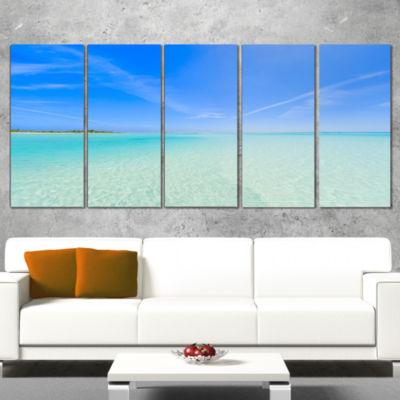 Designart Tropical Beach in Cayo Largo Island Modern Seascape Wrapped Artwork - 5 Panels