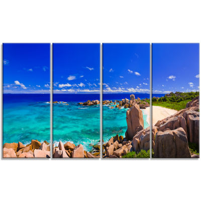 Designart Tropical Beach Panorama Seascape CanvasArt Print- 4 Panels