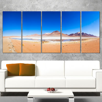 Designart Bolivia Altiplano Lake Panorama ModernSeascape Canvas Artwork - 5 Panels