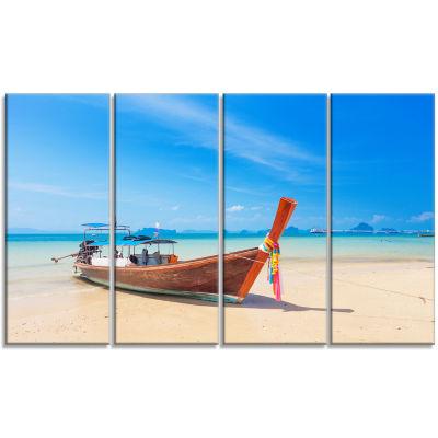 Designart Tropical Beach with Boat Seashore PhotoCanvas ArtPrint - 4 Panels