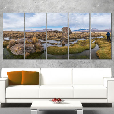 Designart Bolivia Volcanoes Panoramic View Landscape Print Wall Artwork - 4 Panels