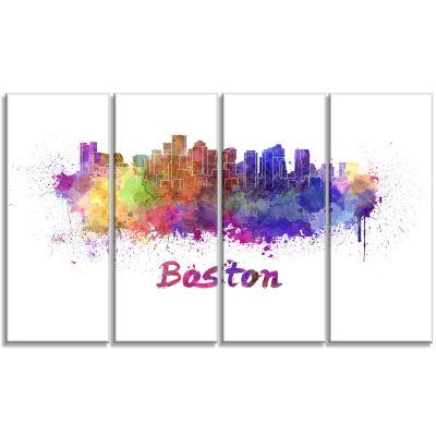 Designart Boston Skyline Large Cityscape Canvas Artwork Print - 4 Panels