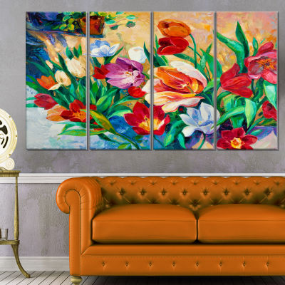 Designart Bouquet of Colorful Flowers Large FloralWall Art Canvas - 4 Panels