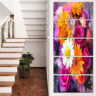 Designart Bouquet of Flowers Watercolor Large Floral Canvas Artwork - 5 Panels