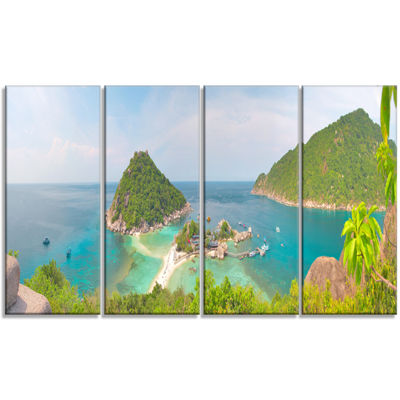 Designart Tropical Island Panorama Large LandscapePhotography Canvas Print - 4 Panels