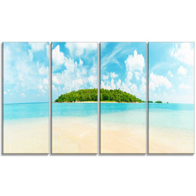 Designart Tropical Island Panorama Large Photography CanvasArt Print - 4 Panels