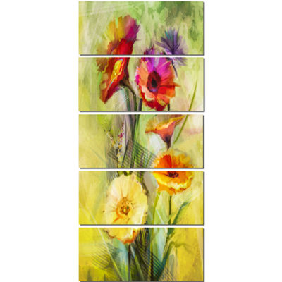 Designart Bouquet of Gerbera Flowers Watercolor Large FloralCanvas Artwork - 5 Panels