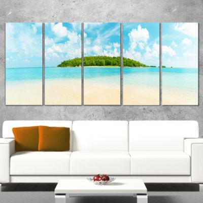 Designart Tropical Island Panorama Photography Wrapped Art Print - 5 Panels