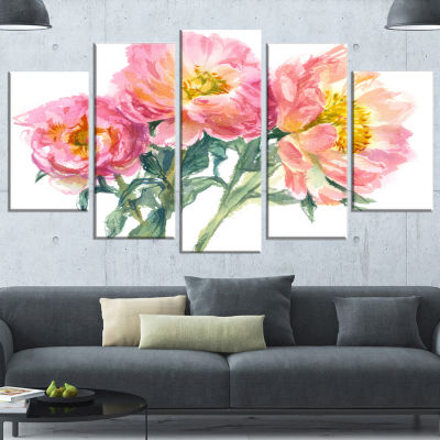 Designart Bouquet of Pink Peony Watercolor FlowerArtwork OnWrapped Canvas - 5 Panels