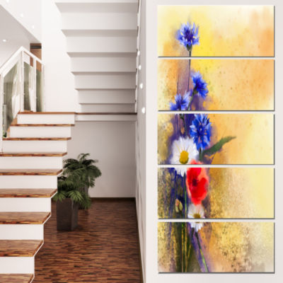 Designart Bouquet of Poppy Cornflower and Daisy Large FloralCanvas Artwork - 4 Panels
