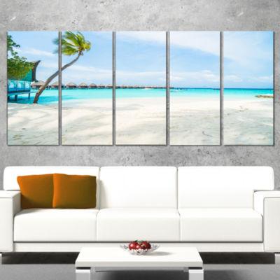 Designart Tropical Maldives Island Seascape CanvasArt Print- 5 Panels