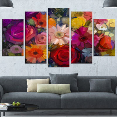 Designart Bouquet of Rose Daisy and Gerbera LargeFloral Wrapped Canvas Artwork - 5 Panels
