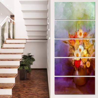 Designart Bouquet of Small Flowers Watercolor Large Floral Canvas Artwork - 5 Panels