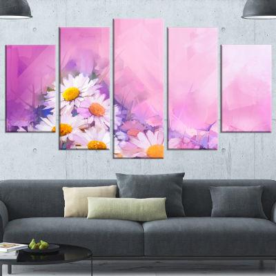 Designart Bouquet of White Gerbera and Daisy Floral Canvas Art Print - 4 Panels