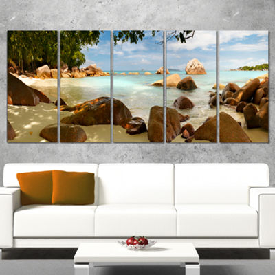 Designart Tropical Rocky Beach Panorama Extra Large WrappedWall Art Landscape - 5 Panels
