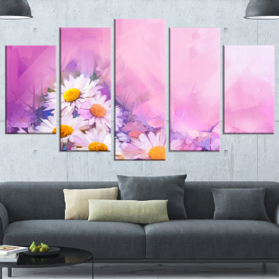 Designart Bouquet of White Gerbera and Daisy Floral Wrapped Canvas Art Print - 5 Panels