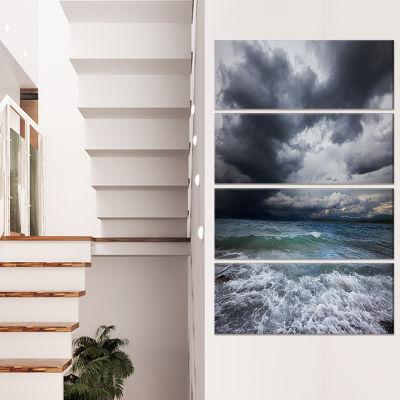 Designart Troubled Sea Under Stormy Sky Beach Photo Canvas Print - 4 Panels