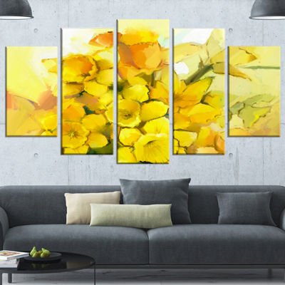 Designart Bouquet of Yellow Narcissus Flowers Large Floral Canvas Artwork - 4 Panels