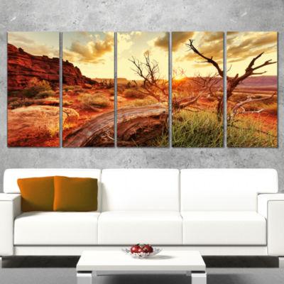 Designart Troubled Sunset Sea Under Blue Sky Seashore CanvasArt Print - 4 Panels