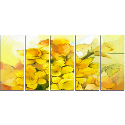 Designart Bouquet of Yellow Narcissus Flowers Large Floral Canvas Artwork - 5 Panels