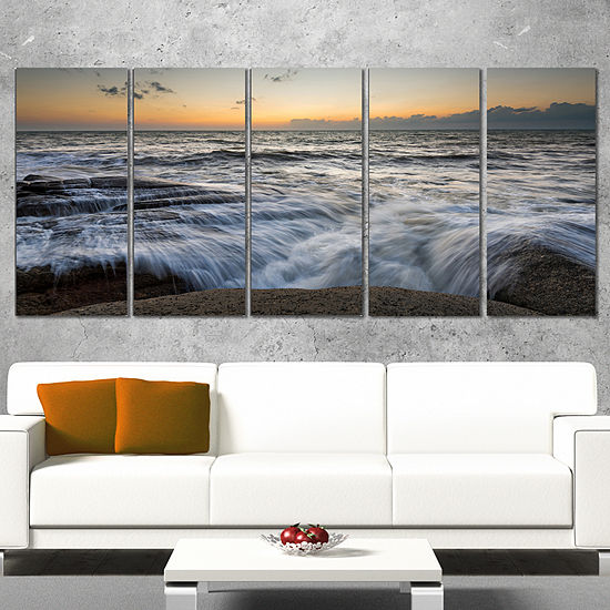 Designart Troubled Sunset Sea Waves Beach Photo Wrapped Print 5 Panels