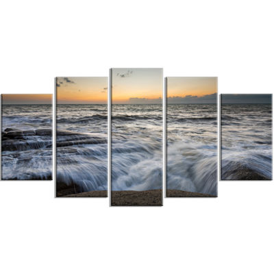 Designart Troubled Sunset Sea Waves Beach Photo Wrapped Print - 5 Panels