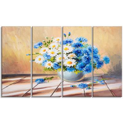 Designart Bouquet On Wooden Table Floral Art Canvas Print -4 Panels