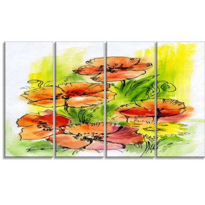 Designart Bouquet Poppies Floral Art Canvas Print-4 Panels