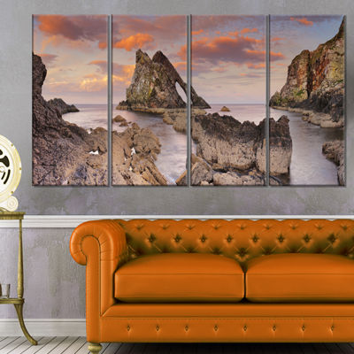 Designart Bow Fiddle Rock Scotland Extra Large Seashore Canvas Art - 4 Panels