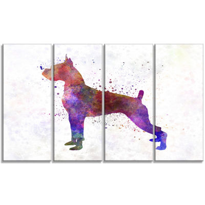 Designart Boxer in Watercolor Animal Art On Canvas- 4 Panels
