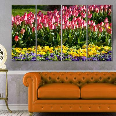 Designart Tulip Garden with Yellow Flowers FloralCanvas ArtPrint - 4 Panels