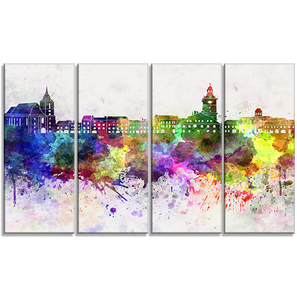 Designart Brasov Skyline Cityscape Canvas ArtworkPrint - 4 Panels