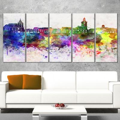 Designart Brasov Skyline Cityscape Canvas ArtworkPrint - 5 Panels