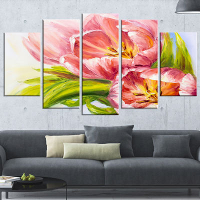 Designart Tulips Flowers Large Floral Art Canvas Print - 5 Panels