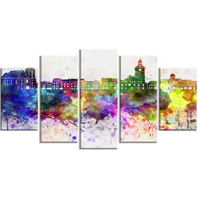 Designart Brasov Skyline Large Cityscape Canvas Artwork Print - 5 Panels