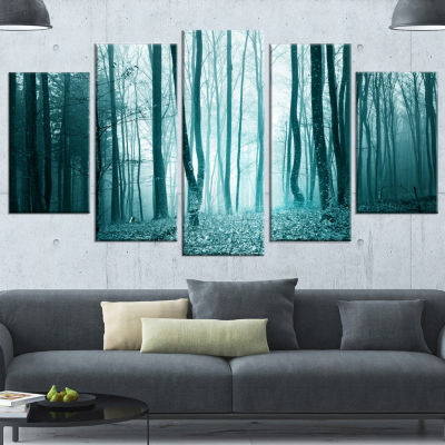 Designart Turquoise Colored Magic Forest Modern Forest Canvas Art - 4 Panels
